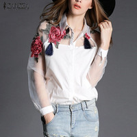 2016 Summer Autumn Elegant Women Blouse Flower Embroidery Vintage Shirts Blouses Organza Sleeve Tops Plus Size