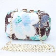2016 mujeres bolso de noche flor de la impresión del bolso de embrague de la boda del partido bolsos cadena Messenger Bags pequeño embrague día Sac monederos 1168 t