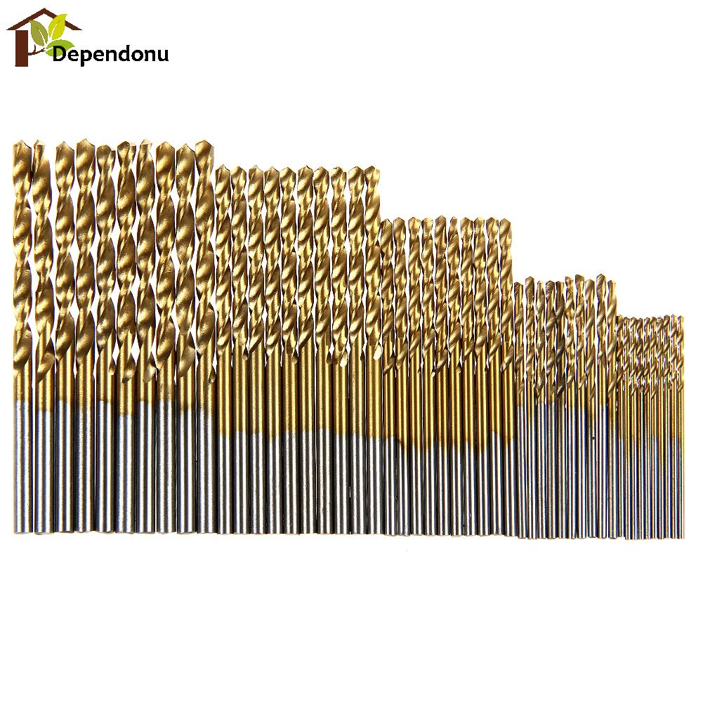 50Pcs/lot Twist Drill Bit Set Saw Set HSS High Steel Titanium Coated Drill Woodworking Wood Tool 1/1.5/2/2.5/3mm For Metal 15 pieces titanium coated hss twist drill bit set with 1 4 hex shank for wood metal power tool 3 0 5 0mm black hemp screw drill