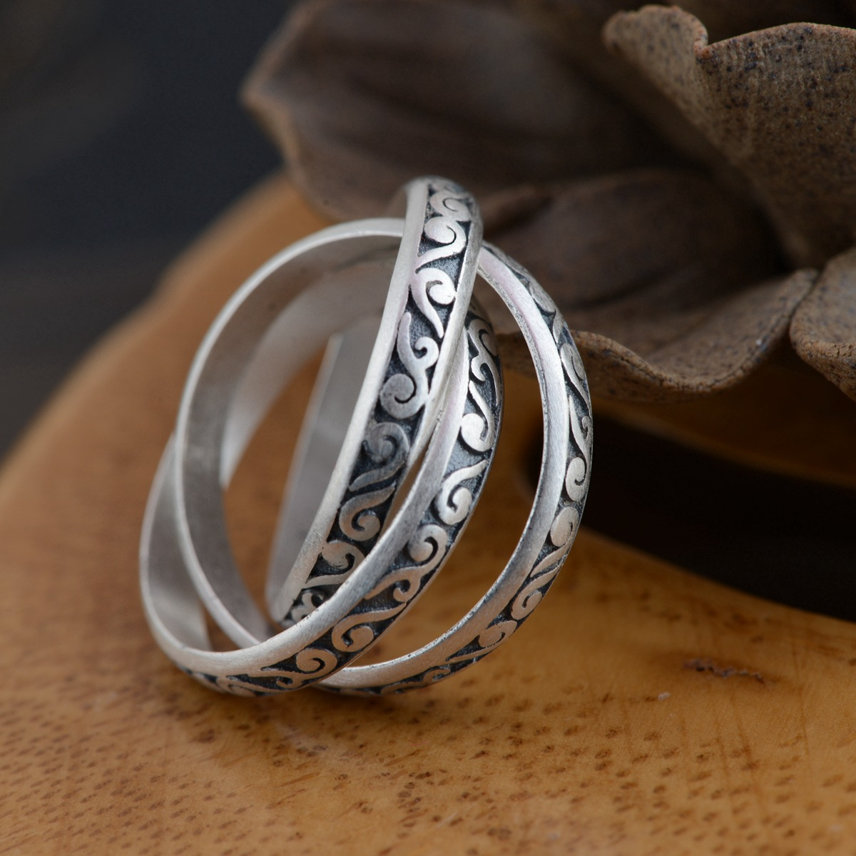 Thai silver wholesale S990 fine silver ring antique matte process design individuality series of three new couples