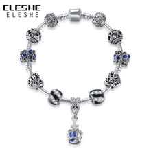 ELESHE Brand New Elegant Silver Bracelet with Crystal Heart Charm Bracelet Female Party Jewelry With Blue Crown Hand Accessories(China)