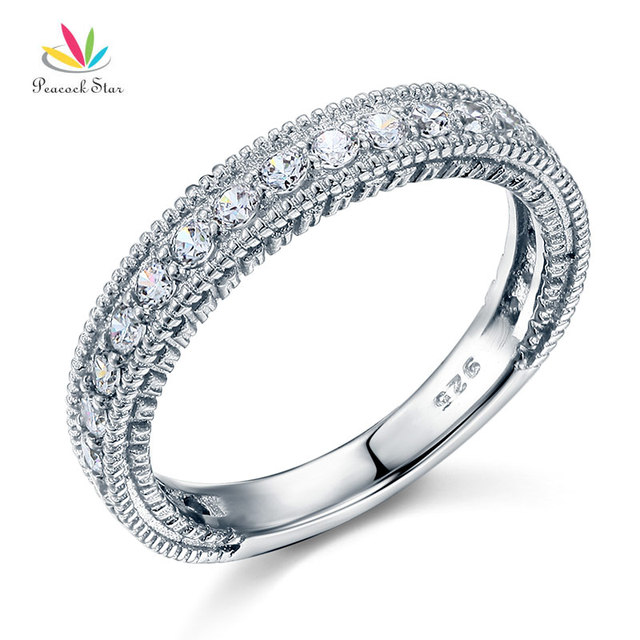 Pea Star Solid 925 Sterling Silver Wedding Band Eternity Ring Jewelry Vintage Style Art Deco Cfr8099