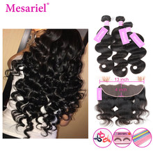 Mesariel Body Wave 2 3 Bundles With Frontal Closure Free Part Brazilian Human Hair Weave Frontal With Bundles Non Remy Hair(China)