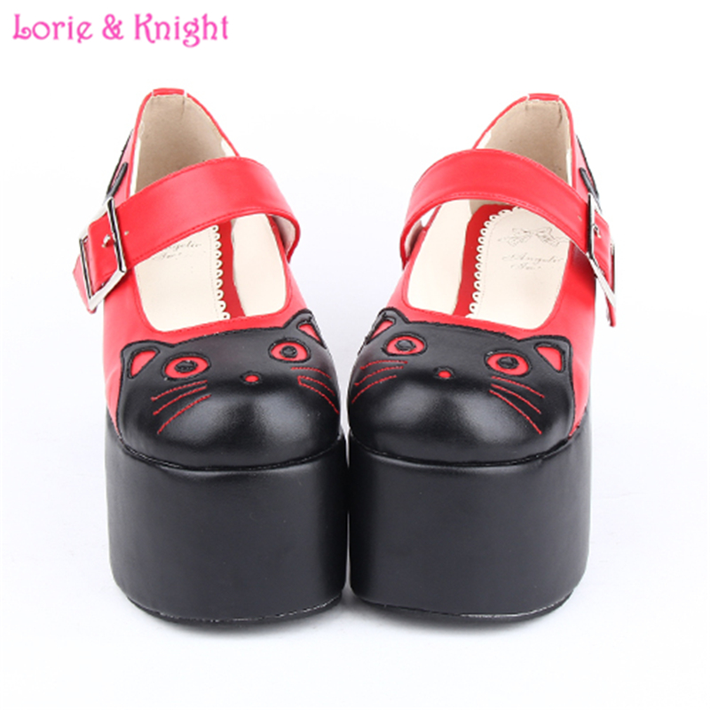 10cm High Heel Platform Lolita Cosplay Shoes Lovely Kitty Mary Jane Shoes
