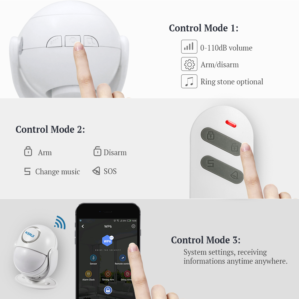 Image 5 - KERUI WIFI Home Security Alarm System Works with Alexa Smart App 120dB PIR Main Panel Door/window Sensor Wireless Burglar Alarm-in Alarm System Kits from Security & Protection