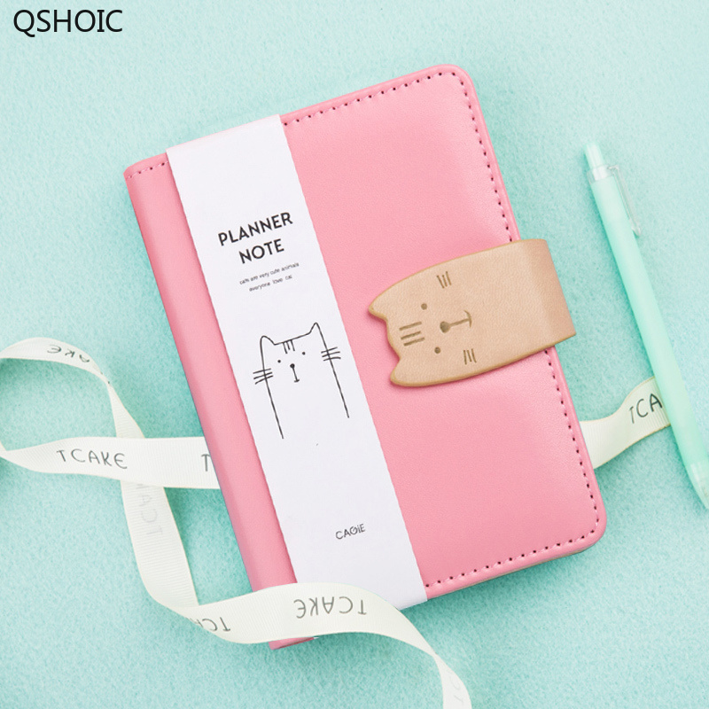 CAGIE <font><b>Kawaii</b></font> <font><b>Diary</b></font> Planner A6 Binder Cat Leather Journals Travelers <font><b>Notebook</b></font> For Girls Filofax Agenda Dividers Journal Intime image