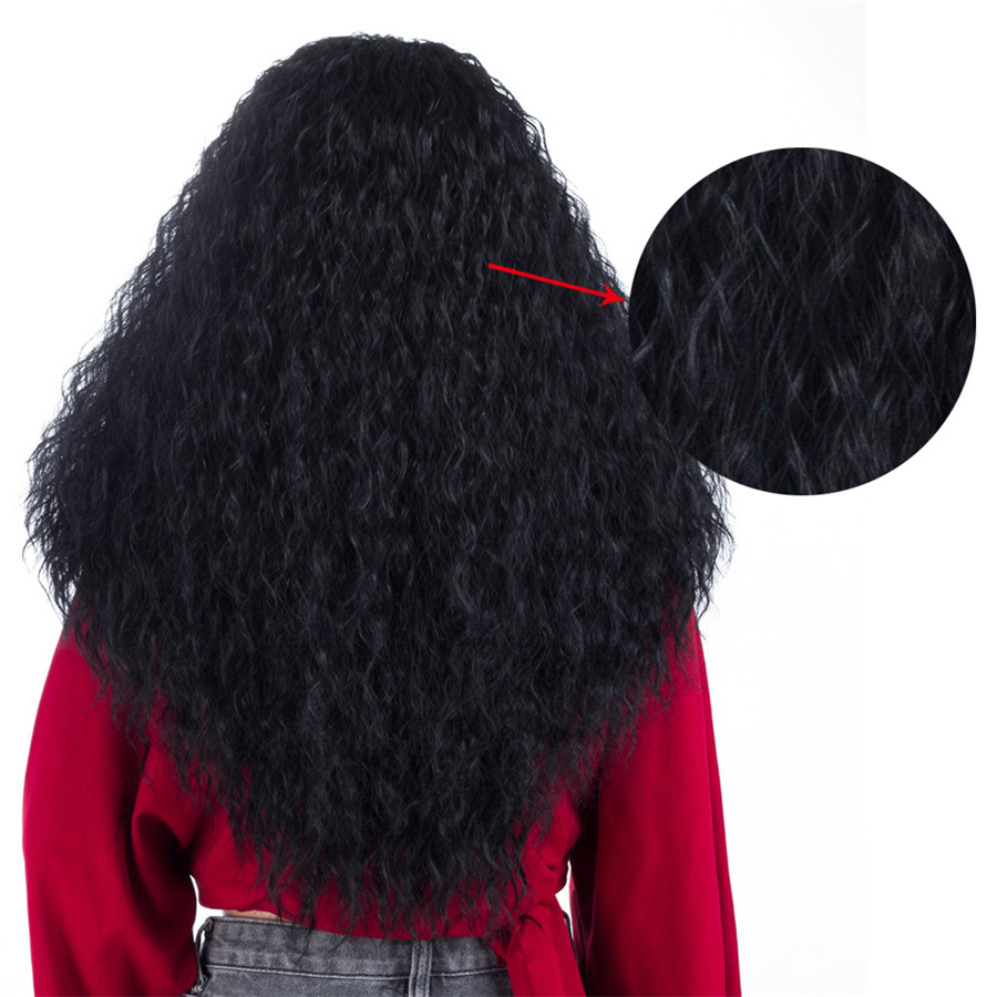 Aigemei 180% Density 18 Inch Synthetic Fiber Heat Resistant Kinky Curly Wig For Women