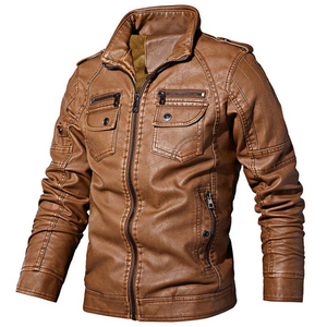 Image 1 - Winter men jacket High quality brand  casual Outerwear Pu leather jacket men Warm fleece men jacket coat brand clothing