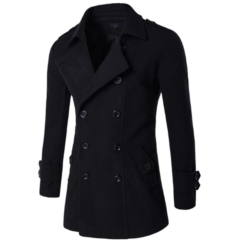 Men British Style Double Breasted   Trench   top Coat Mens Long   trench   Coat Masculino male Clothing Classic Drop shipping Overcoat