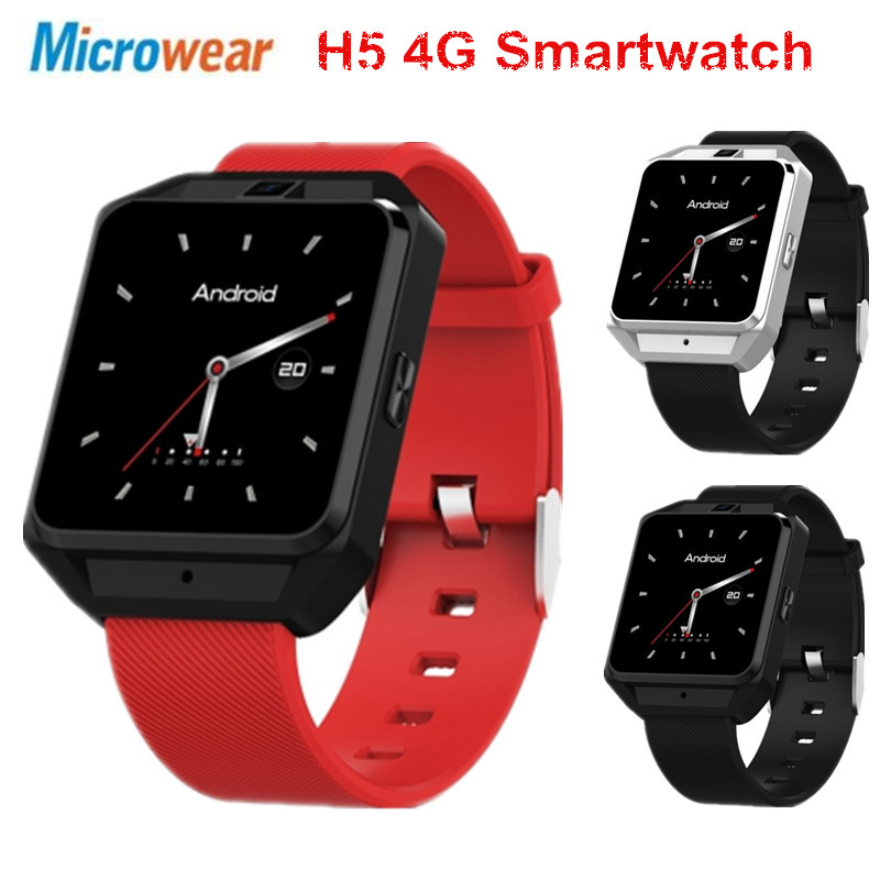 Microwear H5 4G Smartwatch телефон 1,54 дюймов mtk6737 четыре ядра 1,1 ГГц 1G RAM 8G ROM gps Wi-Fi сердечного ритма трекер сна Смарт-часы
