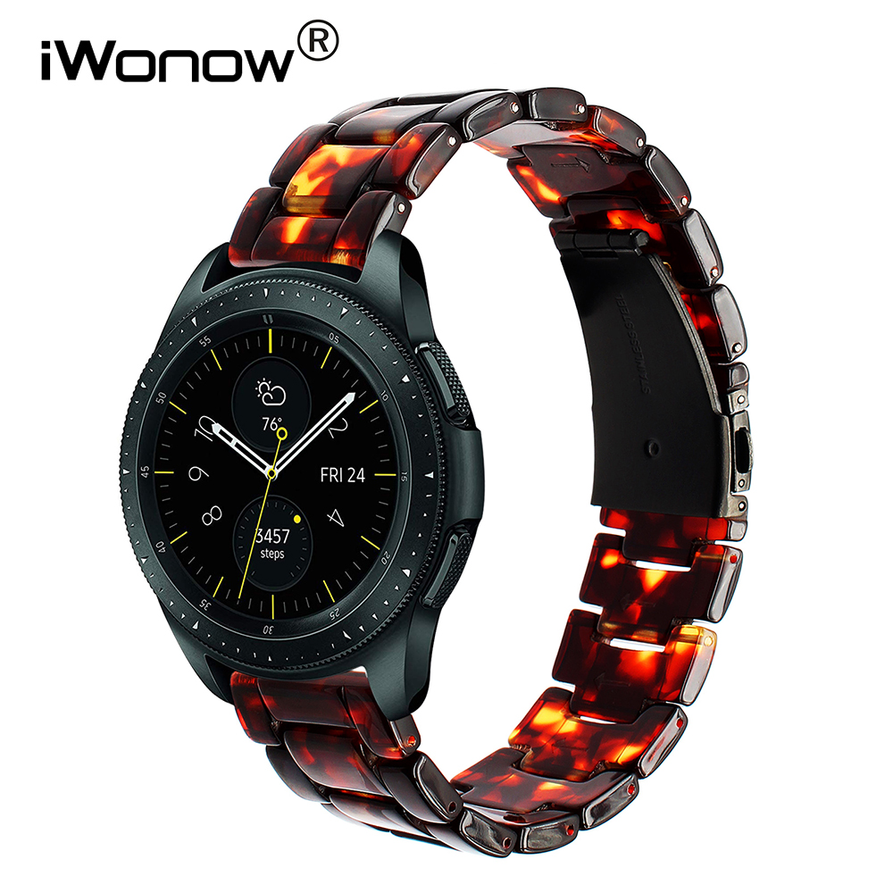 20mm 22mm Resin Watchband for Samsung Galaxy Watch 42mm 46mm SM-R800/R810 Quick Release Band Stainless Steel Clasp Wrist Strap