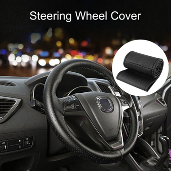 DIY Texture Soft Auto Car Steering Wheel Cover With Needles And Thread Artificial Leather Covers Hot Car Accessory For Women image