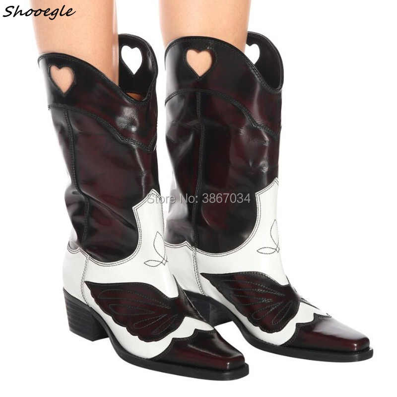 SHOOEGLE 2018 Super Fashion Women Distressed Cowboy Knee High Boots Slip on  Cuban Heels Two- f3244029a937