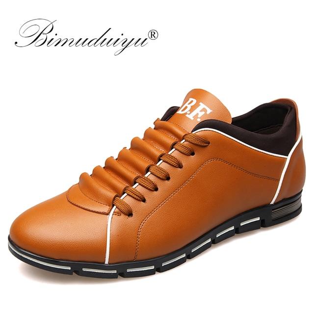 BIMUDUIYU Lente Mannen Casual Schoenen Mode Britse Stijl Lace Up Schoenen Comfortabele mannen Schoenen Microfiber Lederen Sneakers