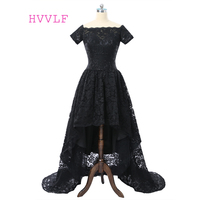 Black Robe De Soiree 2019 Ball Gown Cap Sleeves Lace Short Front Long Back Long Prom Dresses Prom Gown Evening Dresses