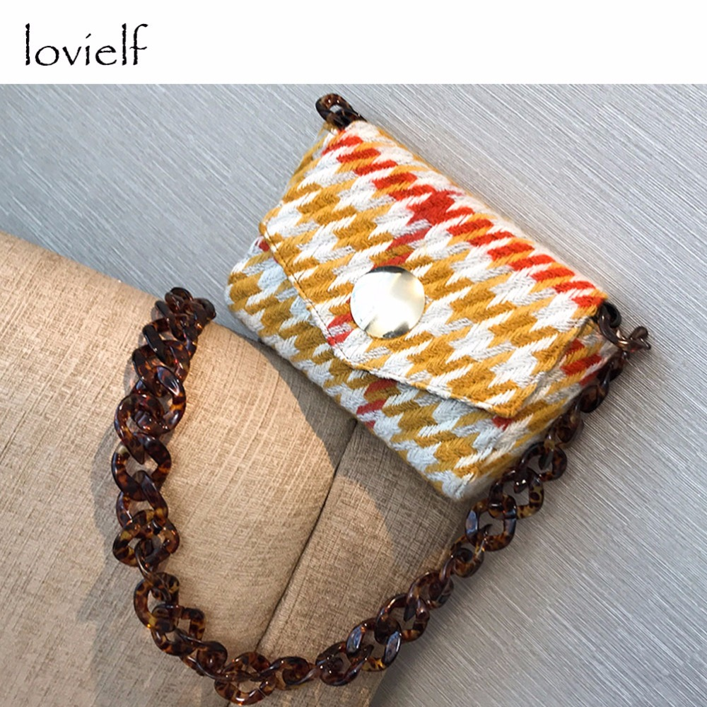 lovielf NEW Women Lady Girl Small Mini Vintage Fashion Thick Chain Round hasp Plaid Lattice Houndstooth Flap Shoulder bags fashion sheepskin mini women bag retro small fragrant bag chain diamond lattice small shoulder bags hasp women messenger bags