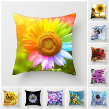 Fuwatacchi Sunflower Rose Dandelion Floral Flower Cushion Cover Throw Pillows Decorative Home Decoration for Sofa