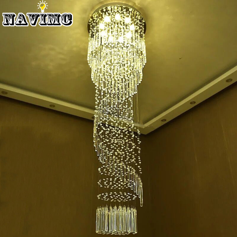 Modern Large Crystal Chandelier Lighting for Hotel Hallway Stairwell Long Stair Light led Hanging Ceiling Lmap