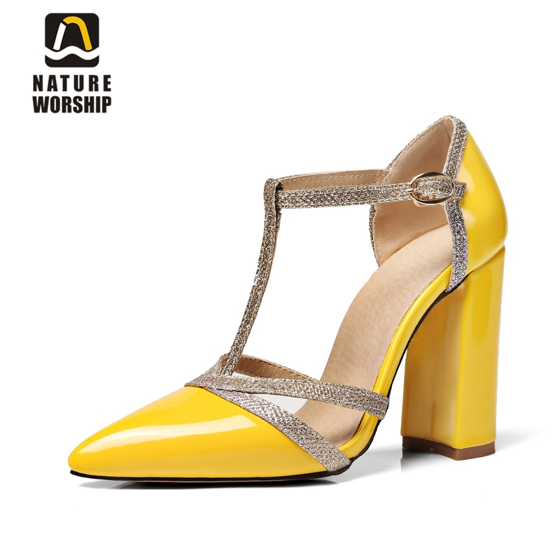 Pointed toe square heel women shoes t-strap chunky high heels pumps shallow shoes concise style women pumps big size shoes women fashionable women s pumps with pointed toe and t strap design