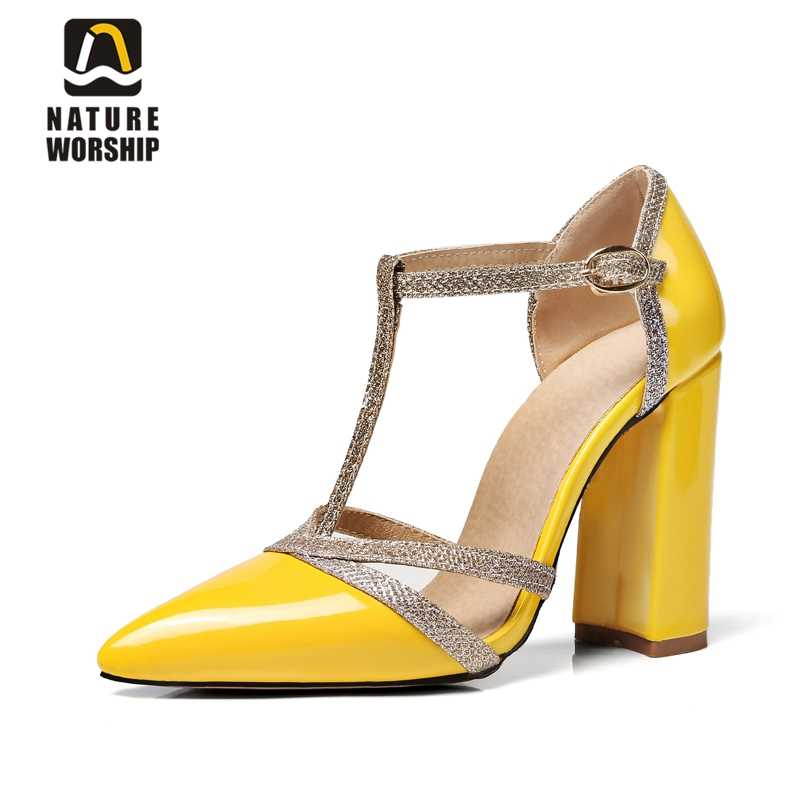 ebadd98d46 Pointed toe square heel women shoes t-strap chunky high heels pumps shallow  shoes concise