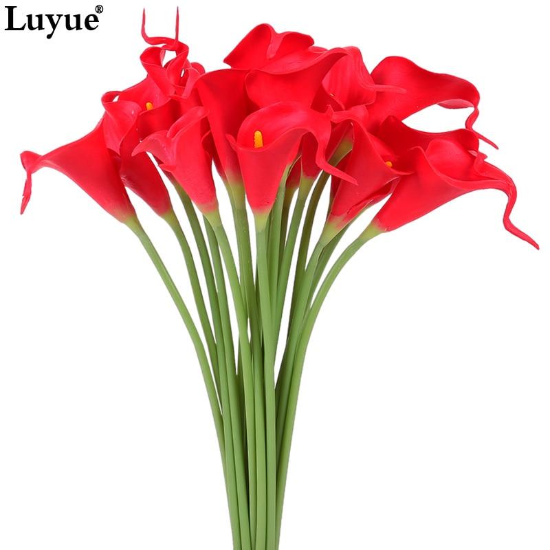 20 штук реального прикосновения Лилия Калла ПУ Искусственные цветы Букеты Главная Свадебные Декор Декоративные цветы и венки