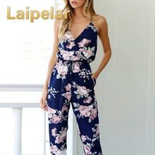hot deal buy laipelar women bohemian backless sleeveless v-neck floral printed loose floral summer clothes summer beach jumsuit