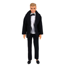 Wedding Black Handmade Doll Accessories Outfit White Shirts + Coat + Pants Trousers Formal Suit Clothes for Barbie Ken Doll Toy e ting handmade fashion doll clothes winter clothing rose coat jacket skinny star print jean girls suit for barbie accessories