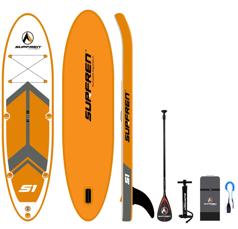 Inflatable Surf Stand Up Sup paddle board iSUP Surfing Paddleboard SURFREN S1 wakeboard bodyboard kayakboat size300 76 13cm in Surfing from Sports Entertainment