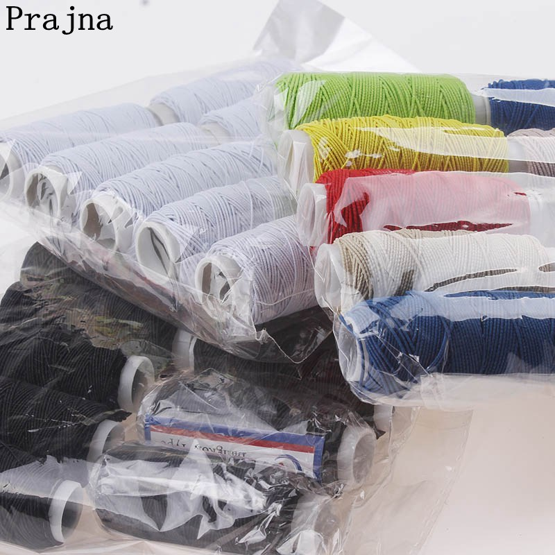 Prajna Colorful MIXED Elastic Thread 10 PCS High Quality DIY Sewing Stools Accessories White Black Set New Style