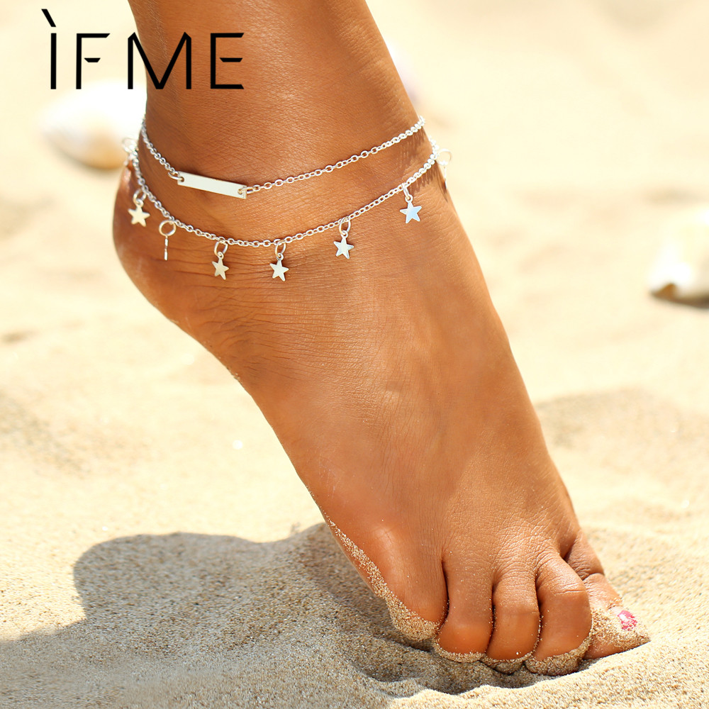 IF ME Gold-color Star Charms Pendants Anklets For Women Girls Foot Bracelets Foot Jewelry Anklets Jewelry Bijoux Pieds Gift