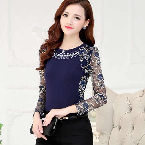 Модные женские топы и блузки 2019 пикантная кружевная блузка рубашка Длинные рукава рубашки женские женские синие  Блузка Одежда 160F 50