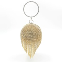 Luxury Handbags Women Bags Designer Gold Clutch Red Ball Shaped Silver Evening Bag Ladies Round Shoulder