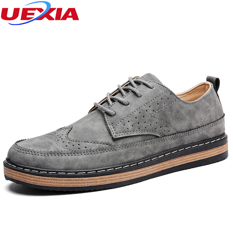 Fashion Bullock Carved Men's Shoes PU Leather Brogue Breathable Casual Shoes Mens Retro Cork Soles Handmade Sewing Hombre
