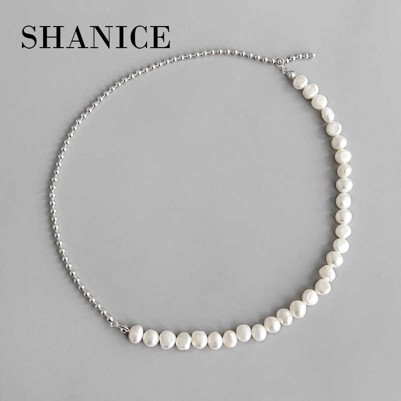 Shanice Ins Trendy Pure 925 Sterling Zilver Barok Zoetwater Parel Bead Chain 925 Sterling Zilveren Choker Charme Ketting