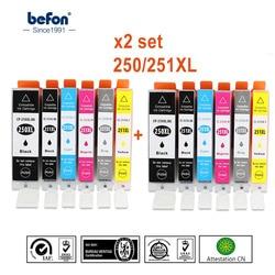 Befon X2 zestaw kompatybilny PGI 250 CLI 251 XL zamiennik dla Canon PGI250 CLI251 pojemnik z tuszem IP7220 MG5420 MX922 722