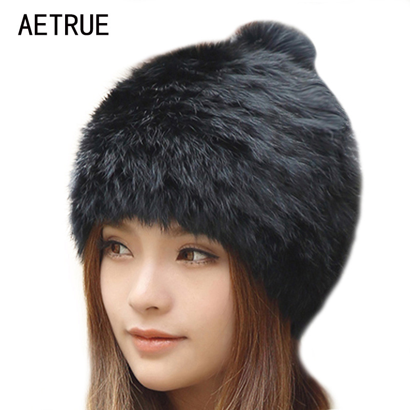 Winter Beanies Women Real Mink Fur Hat Winter Hats For Women Fox Fur Pom Poms Caps Brand Bonnet Casual Beanie Skullies Hats 2016 new star spring cotton baby hat for 6 months 2 years with fluffy raccoon fox fur pom poms touca kids caps for boys and girls