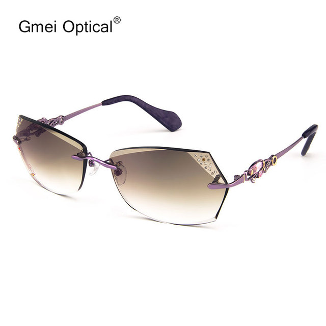 Gmei Óptico 003 Roxo Gradiente de Cor Óculos de Sol Sem Aro com Acessórios de Diamante para As Mulheres Sunwear