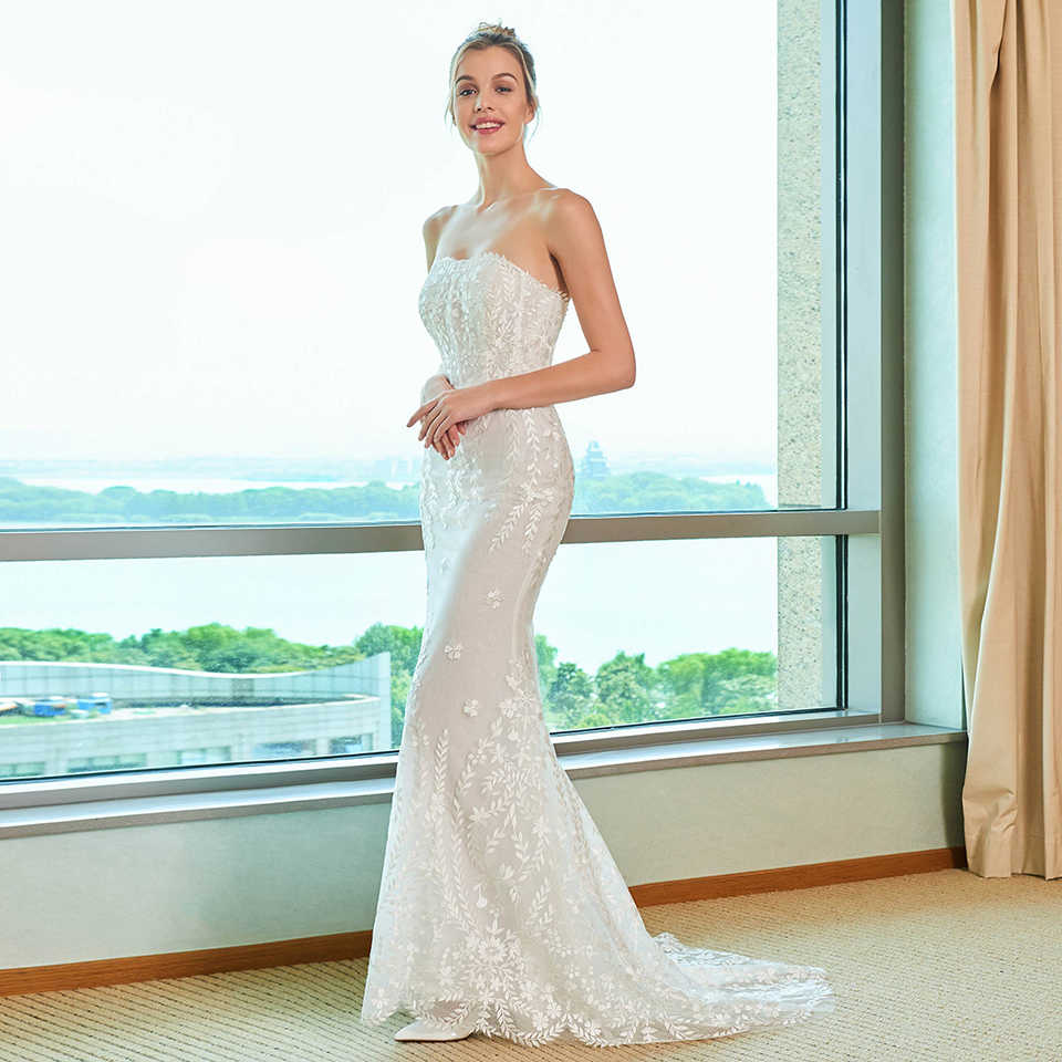 Dressv elegante da sereia do vestido de casamento strapless watteau trem apliques de renda até o chão de noiva ao ar livre & igreja vestidos de casamento