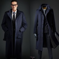 European style single breasted coat lengthened simple luxury wool coat male