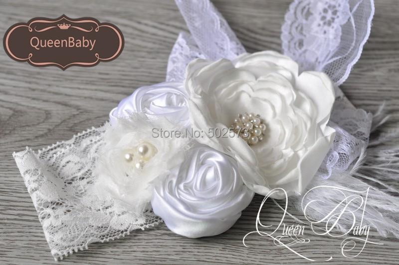 6 pcs lot boho style white layered poppy flowers matching feather on wide lace headband baby - Diademas para bebes bautizo ...