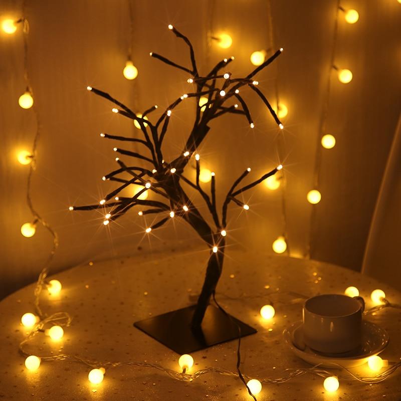 Us 10 14 48 Off Home Decoration Led Tree Light Night Lights Table Lamp Christmas Fairy Wedding Indoor Lighting Luminarias In