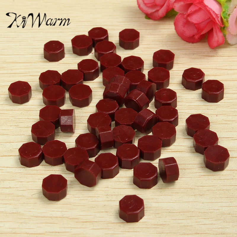 KiWarm 50pcs Red Vintage Sealing Wax Tablet Pill Beads Granule Grain Melting for Stamps Envelope Invitation Wax Seal DIY Decor