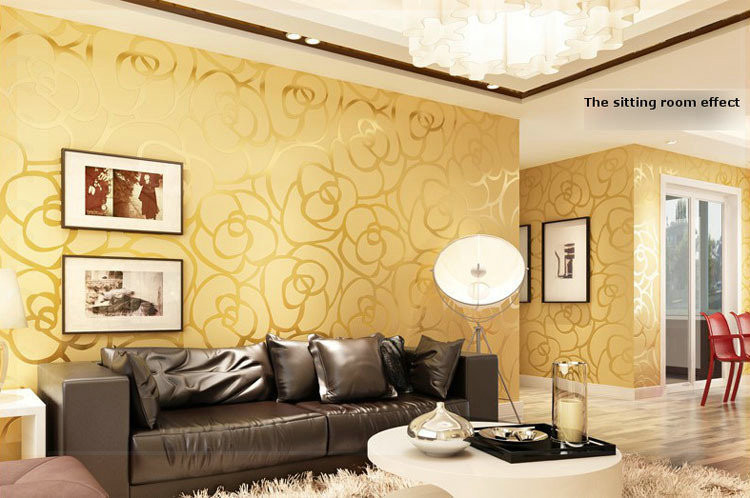 Background Wall Modern Velvet Wallpaper Gold Roses For Living Room Classic Paper Home Decor Wallcovering Pink In Wallpapers From