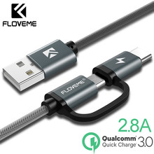 Novedoso pack de QC3.0 2.8A Cable Micro USB rápido cargador USB Cable de tipo C 2in1 tipo-C Cable para Samsung Xiaomi Oneplus Huawei P9(China)