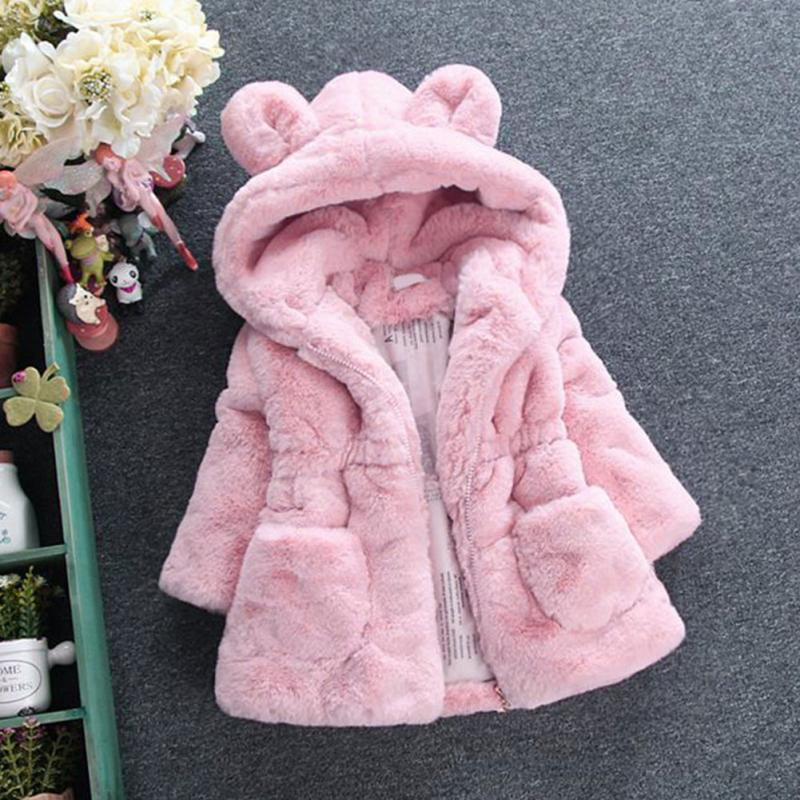 Clearance kids baby Winter Coat faux fur hooded outwear jacket girls Warm Coat clothes long Sleeve children baby Toddler costume