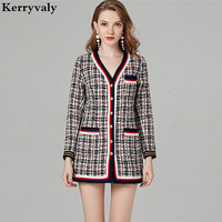 High end Women Long Sleeve Tweed Plaid Jacket Abrigos Mujer Invierno 2018 Autumn Wool Coat Manteau Femme Hiver K6016