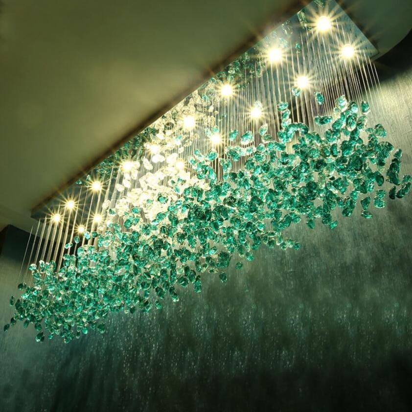 New hotel crystal chandelier bar living room large engineering light green transparent stone glass lamp custom lamp