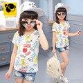 T-shirt Das Meninas de Verão Crianças Roupas Emoji Adolescente Branco Dos Desenhos Animados T-shirt Do Bebê Menina Meninas Crianças Manga Curta de Algodão 2016 50H113