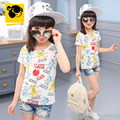 T-shirt Girls Summer Kids Emoji White Teen Clothing Cartoon T-shirt Baby Girl Girls Children Short Sleeve Cotton 2016 50H113