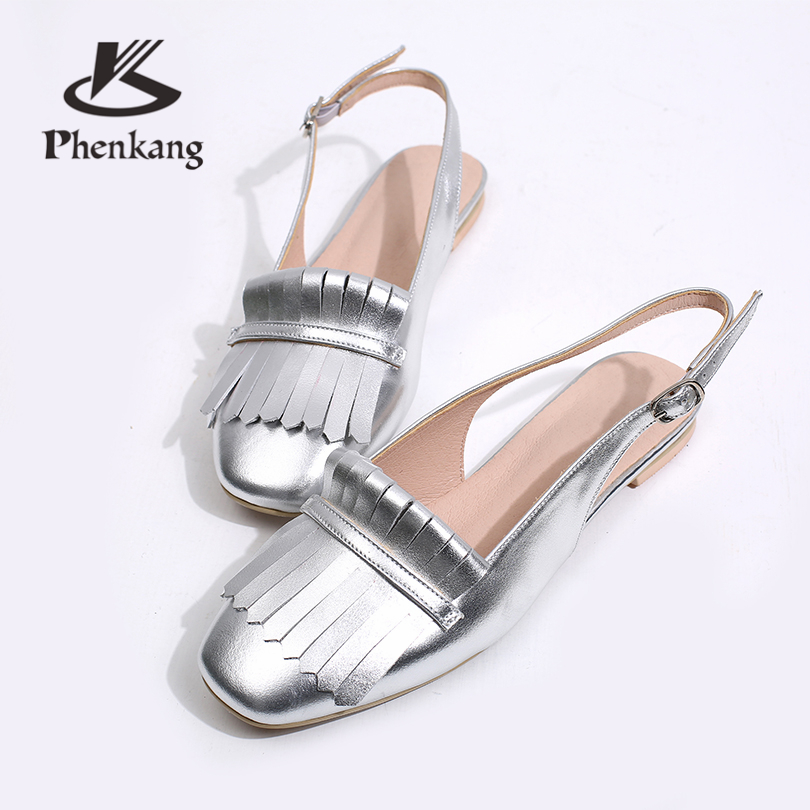Women summer Sandals 100 Genuine Leather brogues Women s Sandals flat pink Woman Shoes buckle sandals